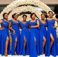 Royal Blue Front Split Brautjungfer Kleider Spitze Appliques Afrikanische Mädchen Ehrenkleid Black Girls Bodenlangen Hochzeit Gastkleid