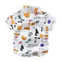 INS NOVITÀ Gentleman boy Abbigliamento per bambini camicia Manica corta Stampa animalier Colletto alla coreana T-shirt per bambini 100% cotone per bambini vestiti per bambini