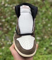 2019 Yeni Yayın Kahverengi Travis 1 Yüksek OG TS SP Mocha Erkek Kadın Kaktüs Jack Koyu Scotts Basketbol Ayakkabıları Spor Sneaker 40-47