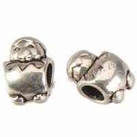 Handwerk Komponenten DIY Perlen Charms Armband Tier Pinguin Großes Loch Silber Platte Metall Modeschmuckherstellung Klassische 13x9x8mm 100 stücke
