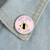 Pembe Yuvarlak Karikatür Arı Emaye Pin Endişelenme Bee Mutlu Broşlar Sevimli Hayvan Gömlek Sırt Çantası Yaka Pin Rozeti Takı Kız Hediye
