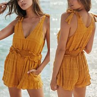 Women Shorts Rompers V- Neck Sexy Bodysuit Mini Rompers Yello...