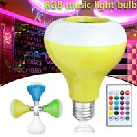 E27 RGB Беспроводной Bluetooth Динамик Лампы Музыка Воспроизведение Dimmable LED RGB Музыка Музыкальная Лампочка Света с дистанционным управлением