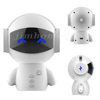 20pcs Bluetooth portable récent mignon robot haut-parleur stéréo mains libres Noise Cancelling AUX TF Lecteur de musique MP3 téléphone portable Appel
