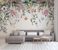 Benutzerdefinierte 3D-Wand Tapete europäischen Stil Aquarell Rebe Blumen Malerei Wand Wohnzimmer TV Stereoskop 3D Wallpaper 2020