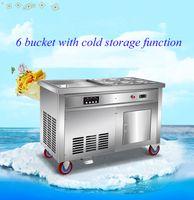 2019 neuer Fried Joghurt-Maschine kommerzieller Einzel Topf gebraten Eis Maschine Fried Eis Roll-Maschine Doppel Topf