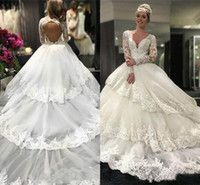 2019 Tiered Beach Wedding Dresses A Line V Neck Lace Tulle B...