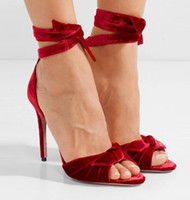 Red Velvet Ankle Strap Women Pumps Peep Toe Lace- Up High Hee...