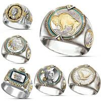 Hip Hop Zwei-Ton-925 silberne Männer Goldringe Buffalo Nickel Schmuck Ring Mens Desinger Ringe Mode Persönlichkeit Geschenk für Mann Größe 7-12