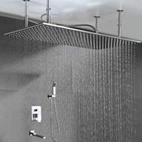 Banheiro luxuoso Set torneira do chuveiro High Flow 20x40 polegadas Big Rain Shower Ceiling 2 Way Hot Fria latão Válvula Embed Box Instalação Fácil