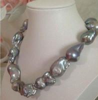 Jewelryr collier de perles magnifique 20-25mm baroque collier de perles grises 18 pouces Livraison gratuite
