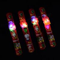 LED Рождество Браслет Luminous Хлоп кольцо Светящиеся браслеты нарукавье Санта снеговика наручные Хлоп кольцо Рождественские игрушки XmasT2G5059