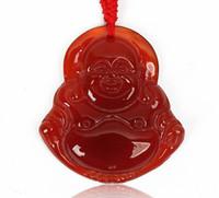 Manau vermelho Buda Pingente Maitreya Grande Barriga De Buda Jade Pingente Buda Colar de Cristal Gem Jade