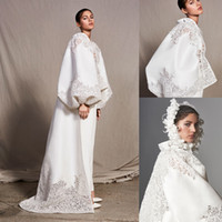 Modest Ashi Studio A-Linie Abendkleid mit V-Ausschnitt Langarm-Satinapplique Partei Anzüge Kleid Sweep Zug Roben de soirée