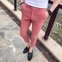 2019 Новая весна и лето новый бутик Моды сплошной цвет повседневный деловой мужской костюм брюки / Мужские тонкие повседневные брюки длиной до щиколотки