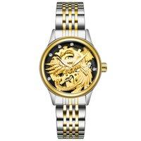 İsviçre tevise popüler gece lambası su geçirmez otomatik mekanik saat kadınların Dragon Phoenix çift mekanik saat modeli 9006