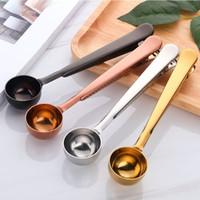 Cuchara de medición de café de té de acero inoxidable con bolsa Clip Sellado Cuchara de café multifuncional Accesorios de cocina Gadgets Herramientas WX9-1202
