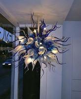أزرق أبيض LED ضوء قلادة G9 في مهب زجاج مورانو الثريا مصباح معلق تصميم بهو أضواء مطعم كبيرة