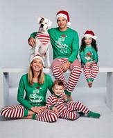 Christmas Family Matching Outfits Pajamas Homewear Sets Merry Christmas Green Shirt+ Red Stripe Long Pants Sleepwear Nightwear