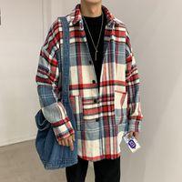 الفانيلا قميص الرجال طويل الأكمام الشتاء عارضة الكورية فضفاضة أزياء خمر قمصان رجالي منقوشة قمم الذكور المتضخم والبلوزات