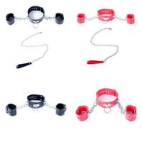 Рабандский шейный воротник для наручных манжетов Ограниченные наручники цепные поводки жгут рабский веселый A87