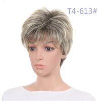 Fashion Natural Looking Shorts Wigs with Bangs Mixed Color T...