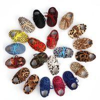 Zapatos de bebé Baby Mocassin Cuero genuino Caballo Cabello Zapatos infantiles Niños Niñas Zapatos Multicolor Camuflaje Antideslizante Suela suave 0-24m