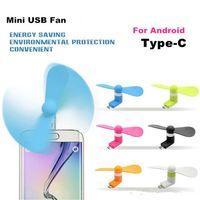 Mini USB fanáticos de la tecnología mudo estupendo del USB del ventilador del refrigerador Para Tipo 2 en 1-c Android Samsung S7 borde del teléfono mini ventilador Con Opppackage