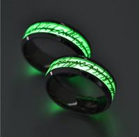 Acciaio inossidabile luminosi Anelli d'argento dorata Foglio Glow in Dark Lord of the Rings gioielli di moda le donne degli uomini all'ingrosso