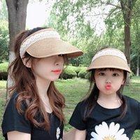 Yeni Ebeveyn-çocuk Cap Kızlar Kadın Summer Sun Gölge Moda Dantel Katlama Plaj Güneş Cap Çocuk Çim Örgü Geniş Brim Şapkalar S142