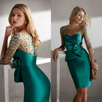 2020 grüne mutterkleider juwel nacken applizierte rüschen halbe ärmel knielange hochzeit gäste kleider kundenspezifisch machte mutter kleider
