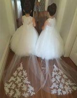 Vestidos De Primera Comunion scoop длина пола танк бальное платье тюль аппликации цветочница платья для свадеб