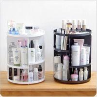 360 Rotating Maquiagem Organizador Caixa De Armazenamento De Plástico Ajustável Cosméticos Brushes Batom Titular Compõem Recipiente de Jóias Stand