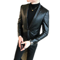 Erkekler 'S Deri Suit Ceket Erkekler Yaka Yaka Palto Erkek Motosiklet Deri Ceket Casual Slim Marka Bombacı Giyim Boyut S-4XL