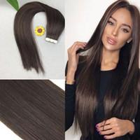 Fita de extensão do cabelo 100% PU Pele Trama Do Cabelo Peruano Reta Remy Do Cabelo Humano 16-20 polegada para Mulheres Da Moda