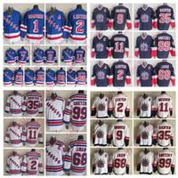 New York Rangers Jaromir Jagr Jersey Wayne Gretzky Jersey Tie Domi Mike Richter Brian Leetch Hockey maglie Vintage casa Blu Bianco