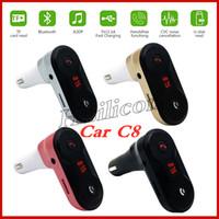 Новейший автомобильный адаптер Bluetooth C8 FM-передатчик Автомобильный комплект Bluetooth Hands Free FM-радио адаптер с USB-выходом Автомобильное зарядное устройство PK c5 C6