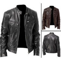 Autumn Winter Mens Leather Jacket Men Jackets Coats Stand Co...