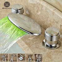 Classic LED Color Changing Waterfall Spout Bathroom Tub Sink...