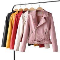 Taotrees Sonbahar Düz Renk Yaka Deri Ceket Kadın Kısa Moda Ince Kısa Deri
