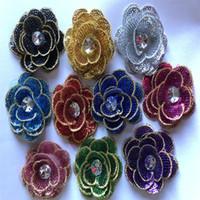 1 pedaço de patch de flores 3d costurar lantejouled com diamante acrílico DIY artesional acessórios decorativos adorável tamanho pequeno 6,5 cm