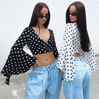 Glockenärmel Natural Color Tops Sexy V-Ausschnitt Crop Tops Damenmode Damen Designer-Tupfen-T-Shirts Mode