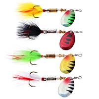 Señuelos de pesca Wobblers Crankbaits Jig Shads para la pesca con mosca Shone lentejuelas trucha cuchara cebos con pluma gancho Pesca