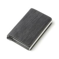 2020 İş Kimlik Kredi Kartı Tutucu Erkekler ve Kadınlar Metal RFID Vintage Alüminyum Kutu PU Deri Kart Cüzdan Not Karbon