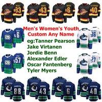 Vancouver Canucks jerseys Tyler Graovac Jersey J. T. Miller Bo Horvat Zack MacEwen Josh Leivo de hockey sobre hielo de los jerseys para hombre Personalizar cosido