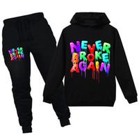2 piezas Niños Niñas sudaderas Conjunto YoungBoy Nunca rompió de nuevo el diseñador de moda sudadera Sweatershirts Ropa para Niños Conjuntos Tops + Pants