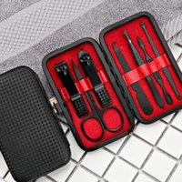 7pcs / set Neue Schwarz-Edelstahl-Maniküre Nagelknipser Pediküre Set tragbare Reise Hygiene Kit-Nagel-Trimmer Cutter Werkzeug-Set