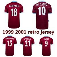 1999 2001 لامبارد WINTERBURN الرجعية جيرسي لكرة القدم 2000 ديفو COLE فرديناند سوكر دي كانيو كاريك خمر الكلاسيكية قميص كرة القدم