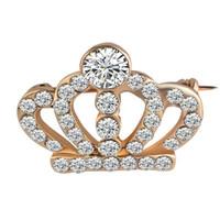 Atacado Novo Natal Pins Fashion Crystal Crown Pins Small Collar Men 's Terno dos homens Broches Jóias Frete Grátis