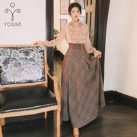 Yosimi 2020 Sonbahar Kış Uzun Kollu Bluz Üst Ve Yün Ekose Etek Ve Üst Set Suit Kadınlar Iki Parçalı Kıyafetler Kazak Etek